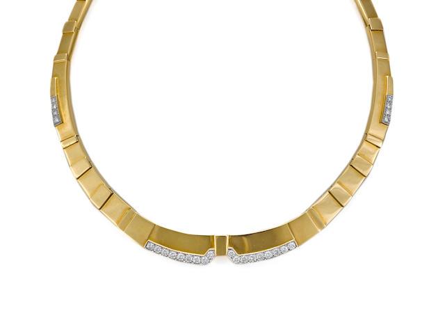 A diamond, eighteen karat gold and platinum collar necklace, David Webb