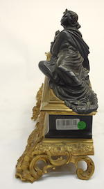 A Napoleon III patinated, gilt bronze and black slate figural mantel clock  dial signed Heyrand à Lyonthird quarter 19th century