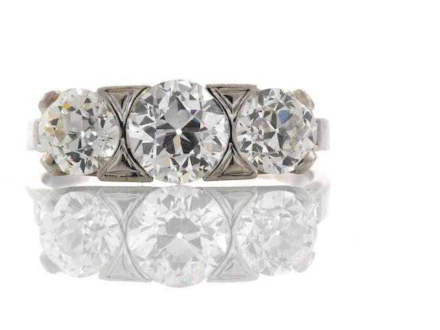 An art deco diamond three stone ring,
