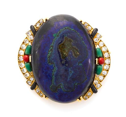 An azurmalachite, enamel and diamond brooch, French