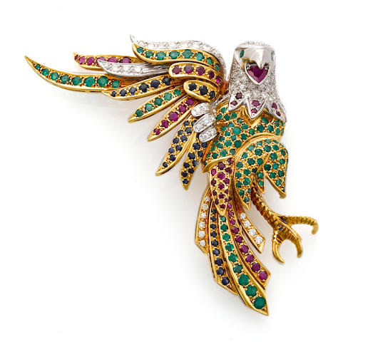 A gem-set and diamond bald eagle brooch