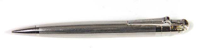 """RONSON: """"PenciLighter"""" Rhodium-Plated Propelling Pencil & Lighter, with Box, c.1930s"""