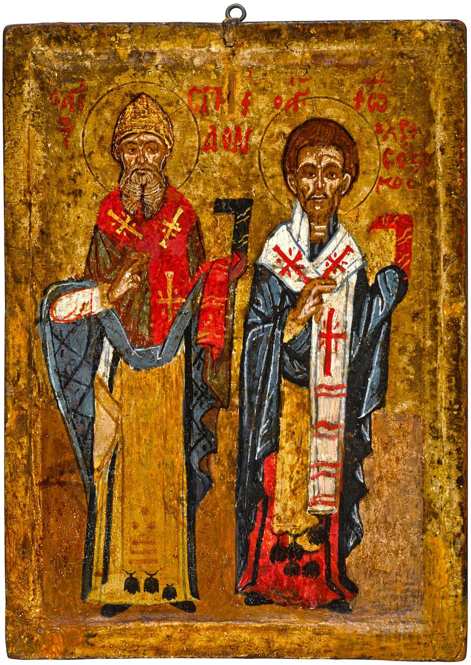 A two-sided icon with Saint Spiridon, Saint John Chrysostom and Saint John the EvangelistGreece, probably Crete, c. 1800