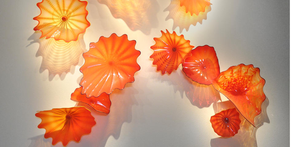 Dale Chihuly (American, born 1941) Zinnia Red Persian Wall Installation, 2000