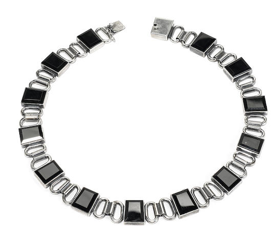 A Jean Després silver and onyx necklace circa 1930