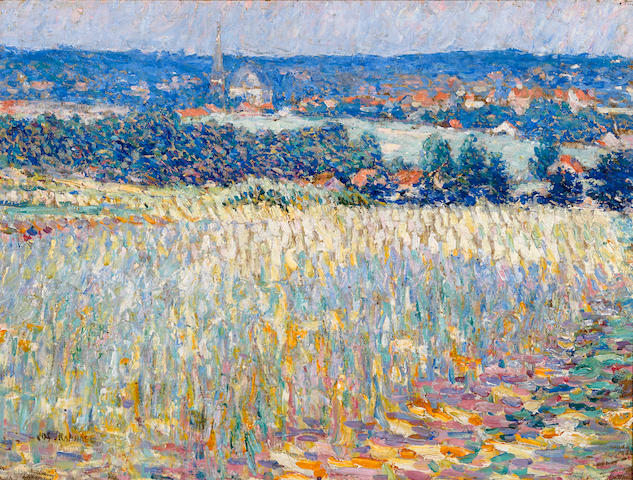 Joseph Raphael (American, 1869-1950) Flowering fields near St. Job, Uccle, Belgium  18 1/4 x 24 1/4in