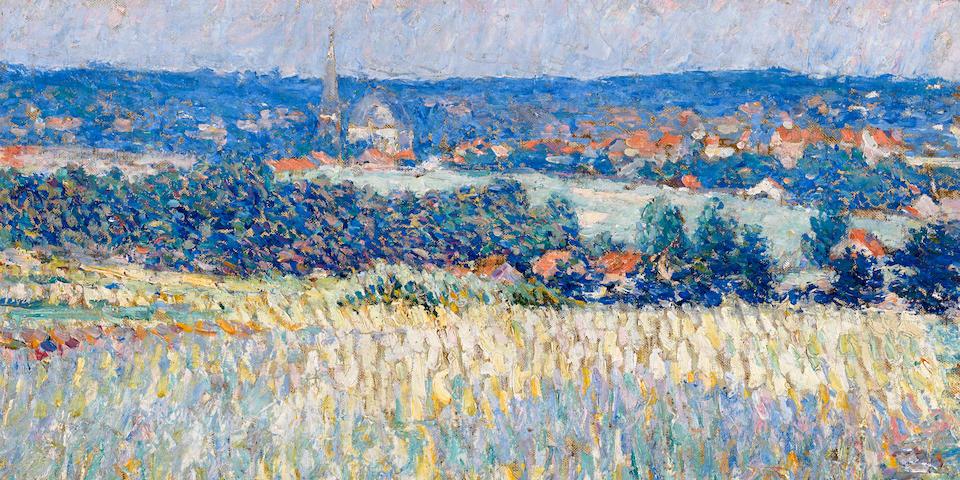 Joseph Raphael (American, 1869-1950) Flowering fields near St. Job, Uccle, Belgium  18 1/4 x 24 1/4in