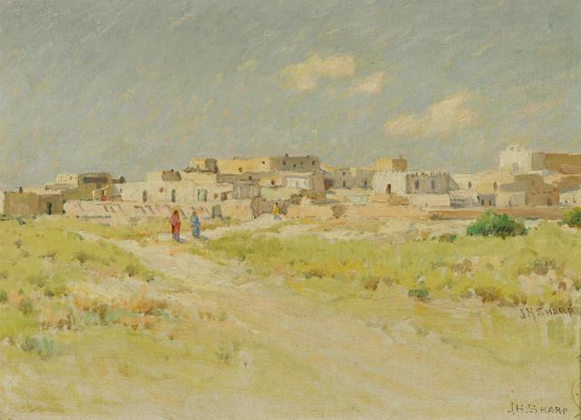 Joseph Henry Sharp (American, 1859-1953) Pueblo of Laguna, New Mexico 9 3/4 x 13 3/4in