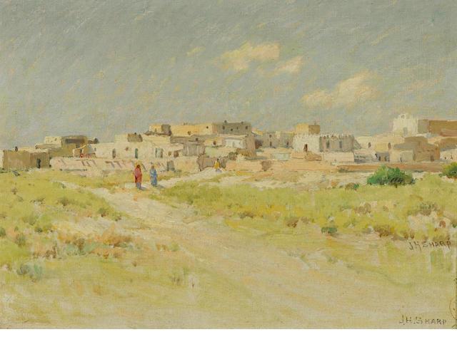 Joseph Henry Sharp (American, 1859-1953) Pueblo of Laguna, New Mexico 9 3/4 x 13 3/4in