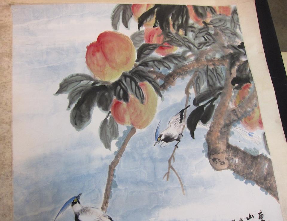 Wu Qingxia (1910-2008)  Peaches and Kingfishers