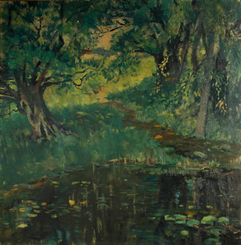 Thomas P. Barnett (American, 1870-1929) The black pool 30 x 30in