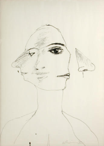 Nathan Oliveira (American, 1928-2010) Untitled (Head #1-69), 1968 26 x 19in