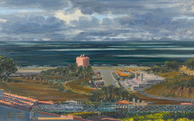 Larry Cohen (born 1952) Sunset and Coast Highway with a Storm Blowing By, 1989 40 x 64in. (101.6 x 162.6cm)