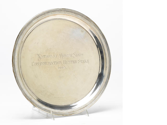 An American  sterling silver circular National Horse Show trophy salver by Gorham Mfg. Co., Providence, RI, 1962