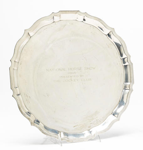 An American  sterling silver  scalloped circular National Horse Show trophy salver by Gorham Mfg. Co., Providence, RI, 1967