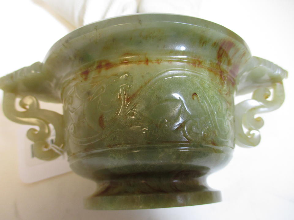 A greenish white jade censer and cover