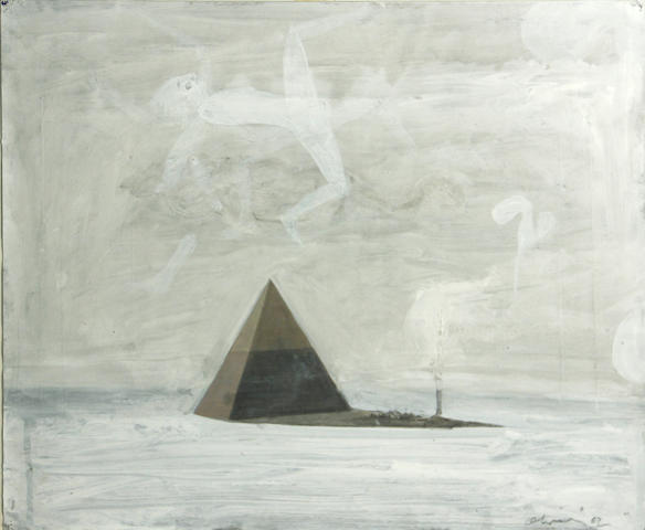 Nathan Oliveira (American, 1928-2010) Untitled (Pyramid with apparition), 1967  16 1/4 x 19 3/4in