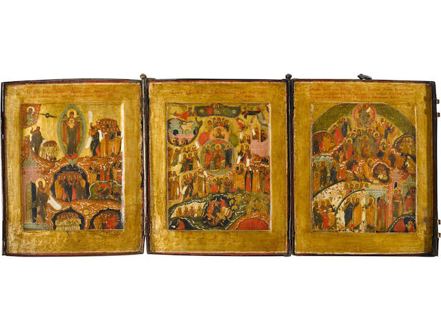 Triptych on the Theme 'In Thee Rejoiceth' Russia, Stroganov School, 1600-1630