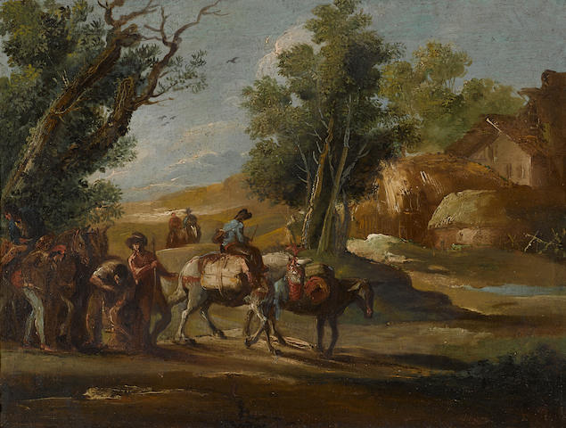 Giuseppe Bernardino Bison (Palmanova 1762-1844 Milan) A landscape with travellers; A landscape with soldiers (a pair) 16 x 21in (40.6 x 53.3cm)