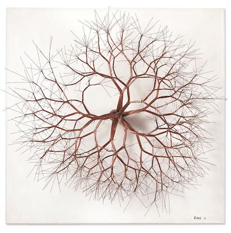 Ruth Asawa (1926-2013) Untitled (S.604, Wall Mounted on a Base, Tied Wire, Closed Center, Multi-Branched Form Based on Nature), 1963 37 x 37 x 20 1/2in. (94 x 94 x 52.1cm)