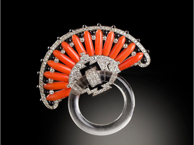 A gem-set, diamond and enamel brooch, Cartier,