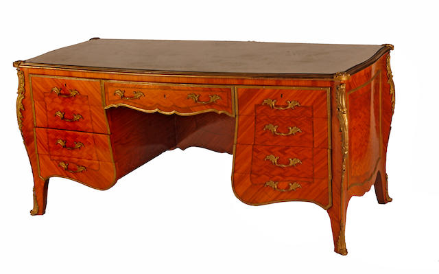 A Louis XV style kingwood gilt bronze mounted and parquetry leather top bureau plat 20th century