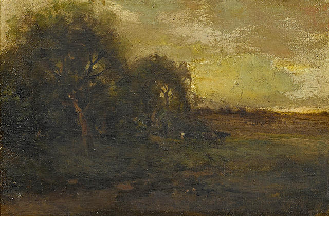 Attributed to William Keith (Scottish/American, 1838-1911) A pastoral landscape 6 x 9in