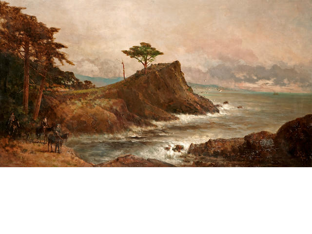 Thomas Hill (American, 1829-1908) Cypress point, Monterey, 1906 36 x 66in