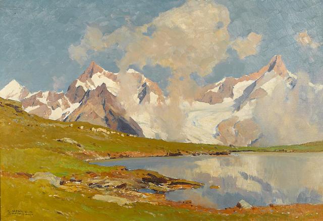 Edward Harrison Compton (British, 1881-1960) An alpine landscape 20 x 29in
