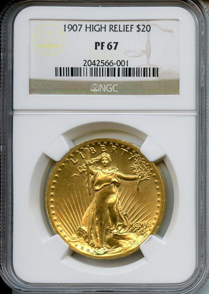 1907 (MCMVII) High Relief $20 Proof 67 NGC