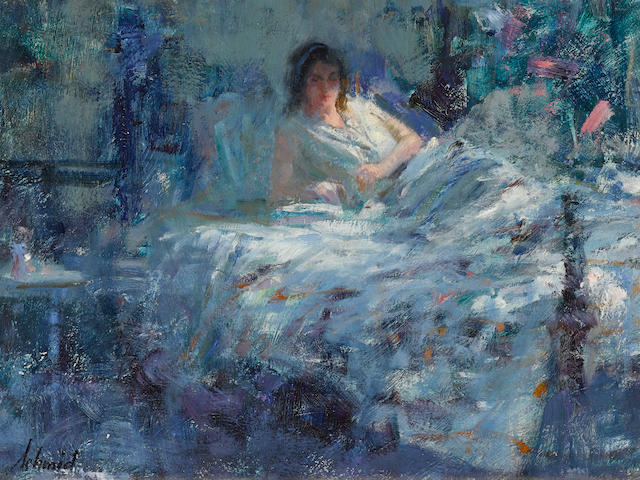 Richard Schmid (American, born 1934) Woman on bed 9 x 12in