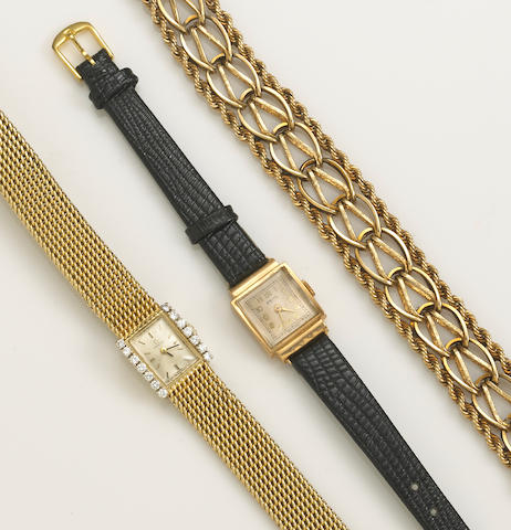 A diamond and 14k gold Omega wristwatch with an 18k gold and later leather strap Astin wristwatch together with a 14k gold bracelet