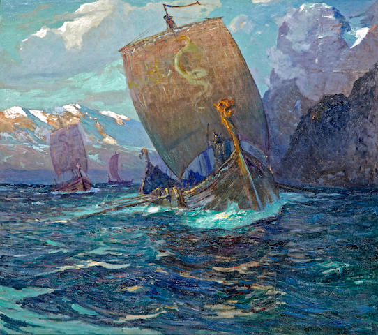 William Frederick Ritschel (American, 1864-1949) Vikings in the glow of the midnight sun 40 1/4 x 45in
