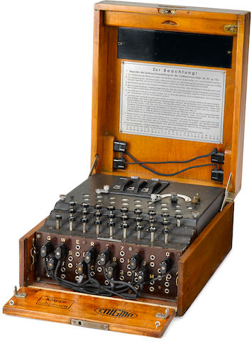 A Rare Enigma three rotor Enciphering Machine circa 1942-44 13-1/2 x 11 x 6-1/4 in. (34.3 x 28 x 15.9 cm.)