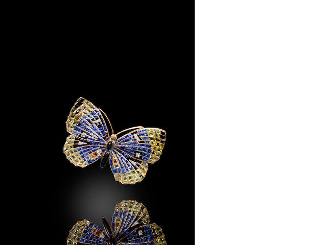 A gem-set and diamond butterfly brooch,