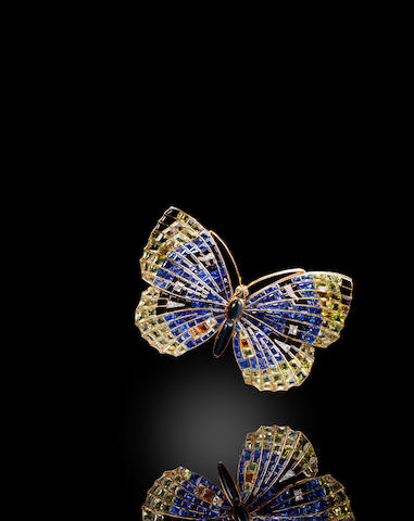 A gem-set and diamond butterfly brooch,