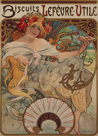 Alphonse Mucha (1860-1939); Biscuits Lefévre-Utile;