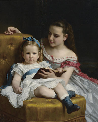 William Adolphe Bouguereau (French, 1825-1905) A portrait of Eva and Frances Johnston 39 1/2 x 32in (100.3 x 81.3cm)