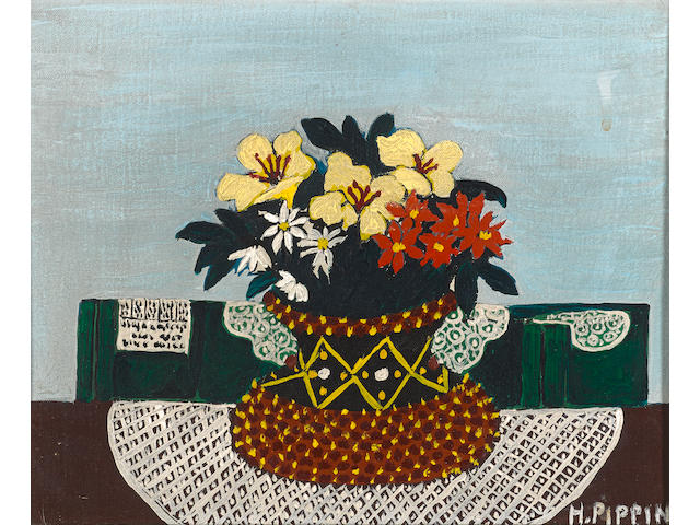Horace Pippin (American, 1888-1947) Flowers with Four Doilies 9 x 11in