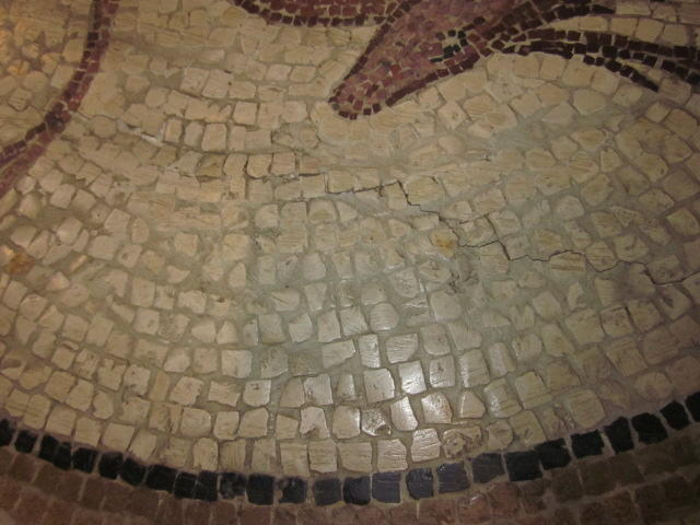 A Roman style mosaic panel on a later Baroque style patinated iron basemosaic panel 19th century, possibly earlier