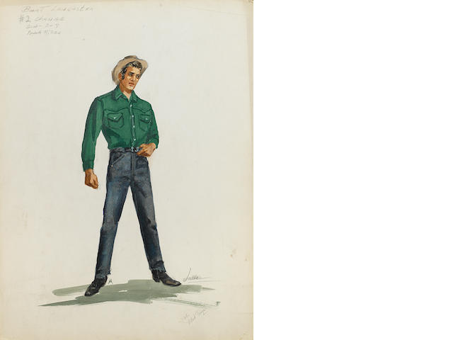 A costume design for Burt Lancaster in Vengeance Valley