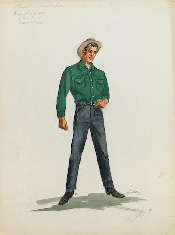 A costume design for Burt Lancaster in Vengeance Valley