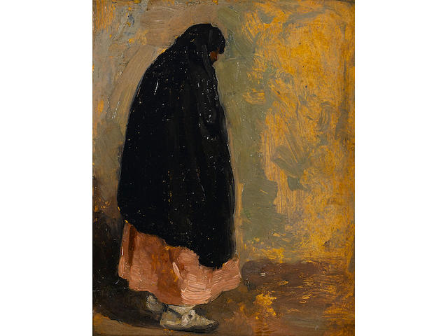 Attributed to Victor William Higgins (American, 1884-1949) Standing Indian Woman with Black Shawl 11 x 8 1/2in