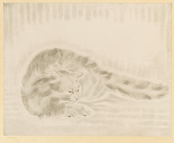 Léonard Tsuguharu Foujita (1886-1968); Chat allongé, from Les Chats;