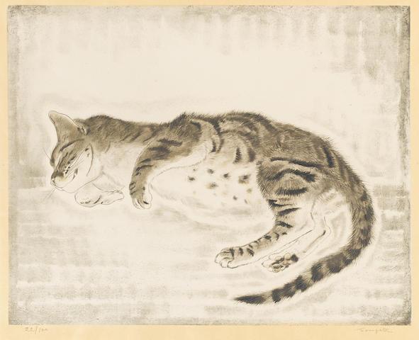 Léonard Tsuguharu Foujita (1886-1968); Chaton endormie, from Les Chats;