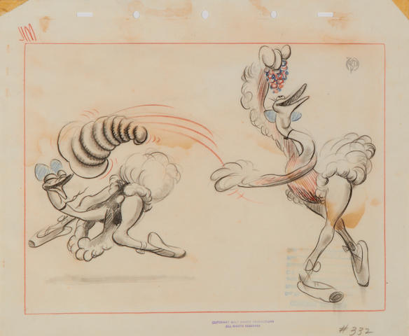 A Walt Disney Studios storyboard drawing from Fantasia