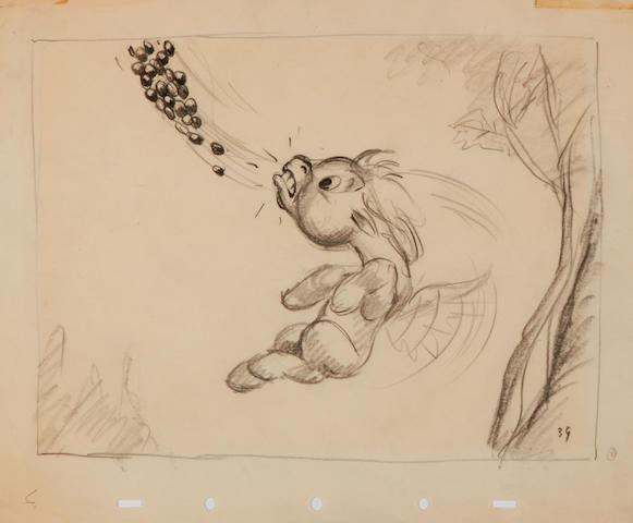 A Walt Disney Studios storyboard drawing from Fantasia
