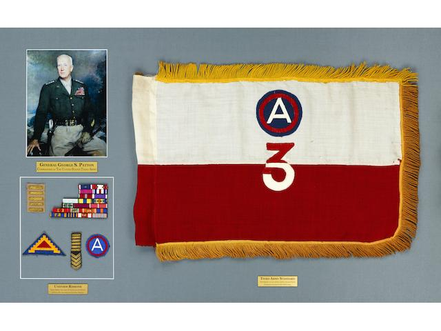 General George S. Patton's personal 3rd Army guidon, medal ribbons and insignia, 1944-1945 guidon: 26 x 17 in 66 x 43 cm) (3 frames)