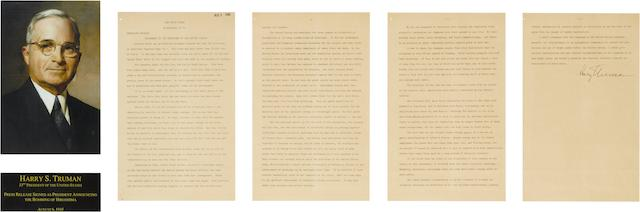 President Harry S. Truman announces the bombing of Hiroshima, a signed copy, 6 August 1945 Overall framed area: 10 1/8 x 7 5/8 in (25.5 x 19.2 cm)