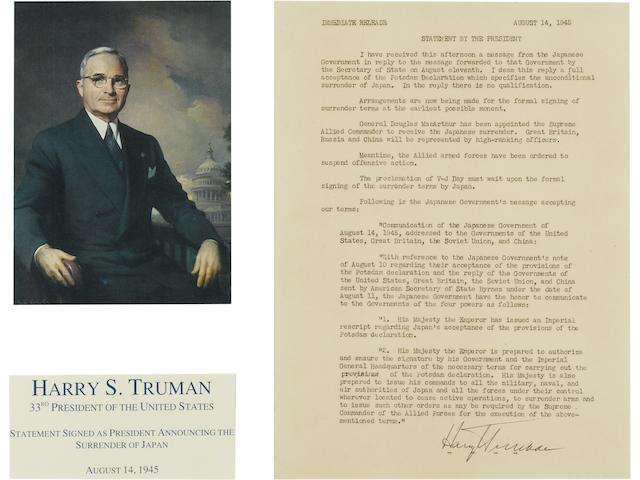 President Harry S. Truman announces the surrender of the Japanese, a signed copy, 14 August 1945 Visible area of  statement: 10 1/8 x 7 5/8 in (25.5 x 19.2 cm)